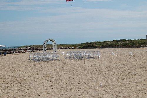 beach set up for a wedding ceremony