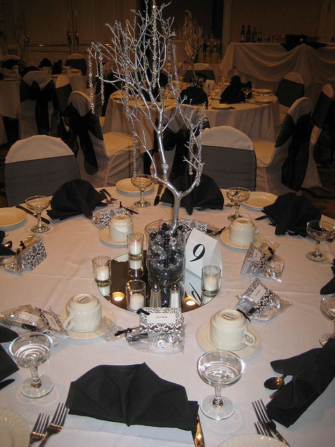 black and white wedding tree centerpiece