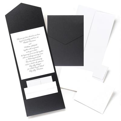 black pocket fold wedding invitation kit