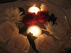 Red Rose Centerpiece, by moonlightbulb