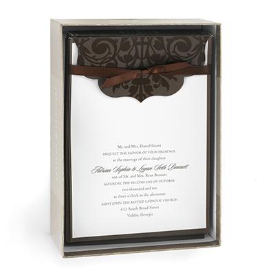 chocolate brown wedding invitation kit