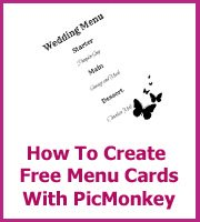 how to make wedding menu cards with Picmonkey