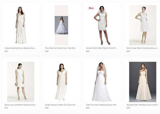 cheap Davids Bridal wedding dresses