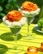flowers in wine glass