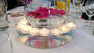 floating candle centerpiece with gerbera daisies
