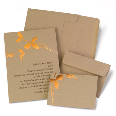bronze leaf wedding invitation kit