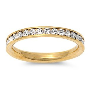 Gold cz wedding band