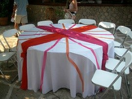 wedding table decorated with colored runners
