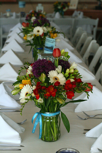 flowers in jars for your centerpieces