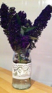 homemade vase wrapped in lace