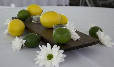 lemon and lime daisy fruit centerpiece