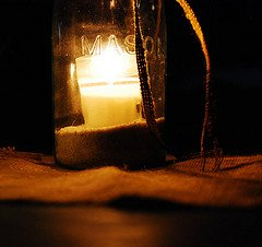 mason jars with candles and sand