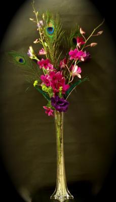 Purple, peacock centerpiece by Meg, The Flower Girl, Utah