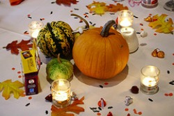 pumpkins and gourds centerpiece