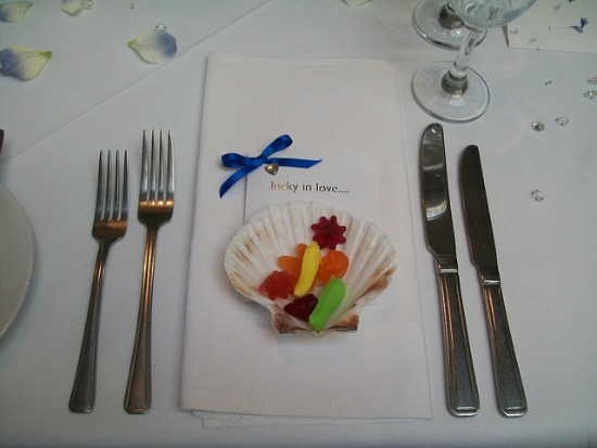 shell with candy place setting