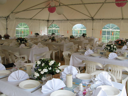 wedding tent set up
