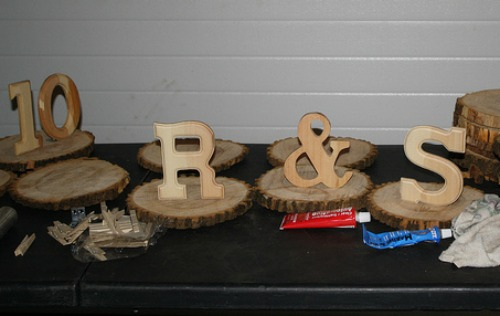 wood cookies for wedding centerpiece