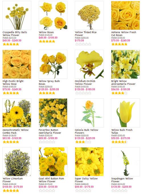 cheap yellow wedding flowers